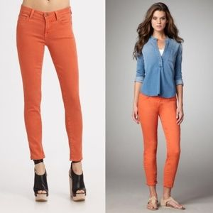Vince Crop Skinny Ankle Jeans Coral Orange